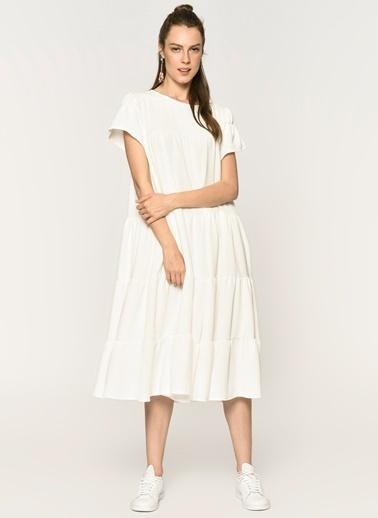 Loves You Katlı A Form Fırfırlı Elbise  Beyaz